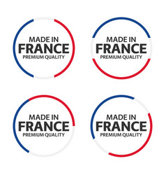 Set of four french icons made in france premium vector