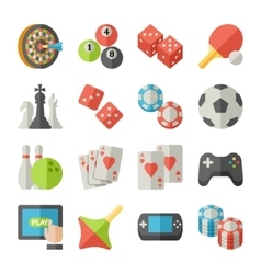 Set of game icons in flat design style vector image