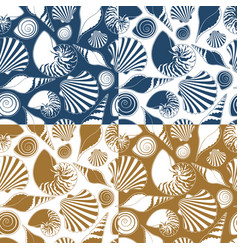 Set of summer seamless patterns with sea shells vector