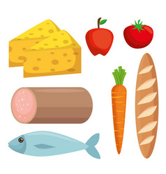 set supermarket groceries icons vector image