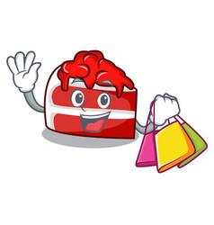 Shopping red velvet character cartoon vector