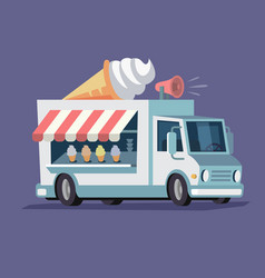 Simplified ice cream truck vector