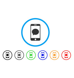 smartphone chat message rounded icon vector image