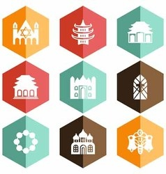 Solid icons houses of worship vector