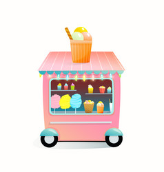 Street market vendor kiosk with cotton candy ice vector