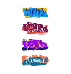 Summer design elements set of art brush strokes vector