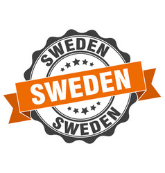 sweden round ribbon seal vector image