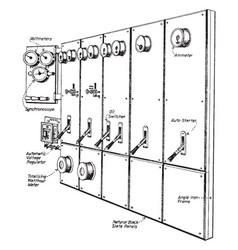 Three-phase switchboard vintage vector