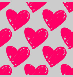 tile pattern with pink hearts on pastel grey vector image