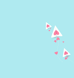 valentines day with cut airplane and hearts vector image