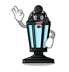 With headphone street lamp mascot cartoon vector