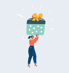 woman are carrying a large gift box vector image