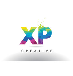 xp x p colorful letter origami triangles design vector image