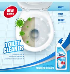 Antibacterial toilet cleaner ad poster vector