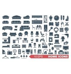 Icons of furniture and household appliances vector image