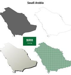 Saudi Arabia outline map set vector image vector image