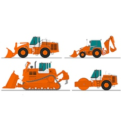 set of four construction machines vector image