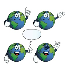 Smiling Earth globe set vector image