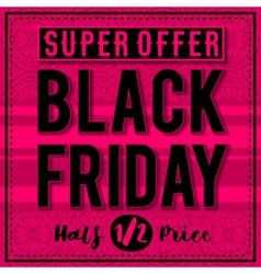 Black friday sale banner on patterned pink backgro vector image vector image