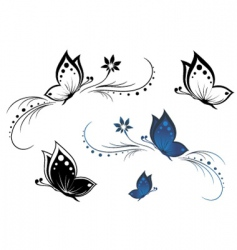 butterflies with a flower pattern vector image vector image
