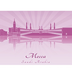 Mecca skyline in purple radiant orchid vector image