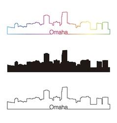 Omaha skyline linear style with rainbow vector image vector image