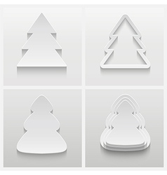 Set of four 3d christmas trees vector image vector image