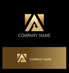triangle square gold icon logo vector image