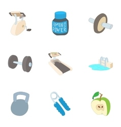 Classes in gym icons set cartoon style vector