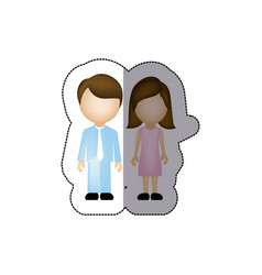 color couple with brown hair icon vector image