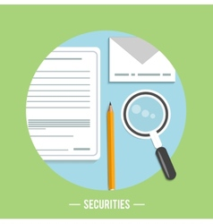 Magnifying glass with page and pencil vector image