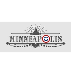 Minneapolis city name with flag colors vector image vector image