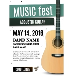 Music festival poster with acoustic guitar vector image