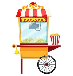 Popcorn vendor with wheel and bell vector image vector image