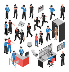 security isometric icons set vector image vector image