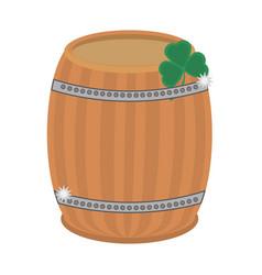 st patricks day wood barrel clover vector image