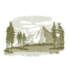 Woodcut Mountain Lake Scene vector image