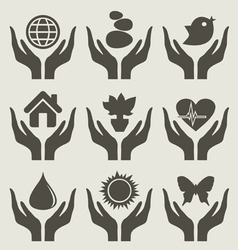 World hand vector image vector image