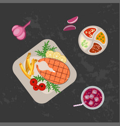 grilled fish and french fries vector image