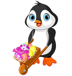 Penguin with Easter wheelbarrow vector image