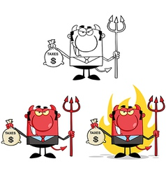 Smiling Devil Holding Taxes Bag Collection vector image