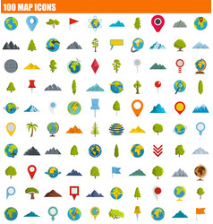 100 map icon set flat style vector image