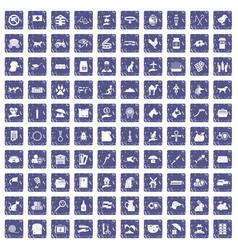 100 pets icons set grunge sapphire vector