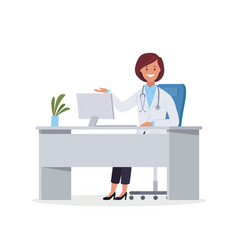 a doctor sitting at desk and working vector image
