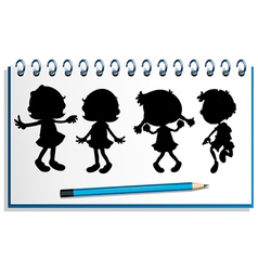 A notebook with kids at the cover page vector