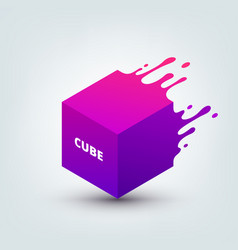 abstract colored 3d cube vector image