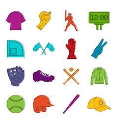Baseball icons doodle set vector