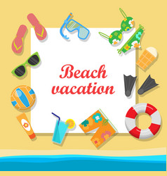 Beach vacation concept in flat style design vector