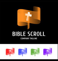biblical scroll with a cross in the center logo vector image