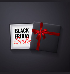 black friday saleopen black gift box with red bow vector image